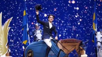 Marlon Modolo Zanotelli, Brasilien, red hem segern i sadeln på Sirene de la Motte. Foto: Roland Thunholm