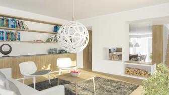 Emrahus AB presenterar interiörsbilder till sitt projekt i Arild, Blossalyckan