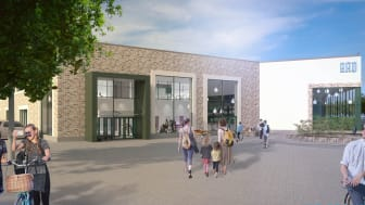 Entrén och torgytan för Kristianstads nya badhus.