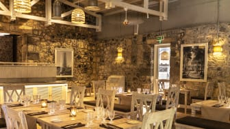 "The chic industrial look: the ""Anno 1743"" restaurant, built into the historic walls of a former powder mill."