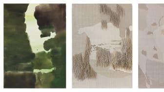 Andreas Eriksson, Utan titel, 2012, akvarell, 31x23 cm. Weissensee No.12, 2018–19, linne 238x140 cm. Weissensee No. 7, 2018, linne, 241x199 cm. ©Konstnären, Nordiska Akvarellmuseet