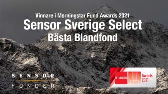 """Sensor Sverige Select vinner priset ''Bästa Blandfond"""" på Morningstar Fund Awards 2021"""