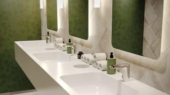 Berøringsfrie armaturer er det foretrukne valg til toiletter i det offentlige rum, da de opfylder høje hygiejnekrav og muliggør bæredygtig brug af vand og energi.