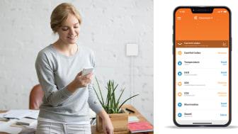 """Healthy Homes har tagit fram den ny appen """"Sense"""" som kan mäta kvaliteten på inneklimatet."""