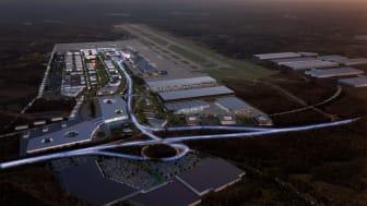 Visionsbild över framtida Göteborg Landvetter Airport. Visionsbild: Krook & Tjäder