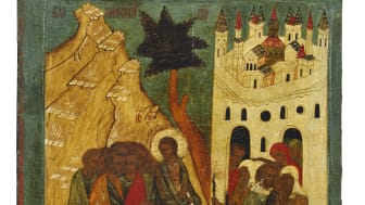 Russian icon depicting Christ's entry into Jerusalem