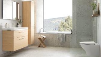 Kylpyhuoneen harmoninen tunnelma auttaa rauhoittumaan keskellä kuormittavaa arkea.