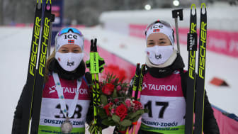 TIL IBU CUP: Karoline Erdal og Emilie Kalkenberg presterte sterkt i EM. Nå skal de videre til IBU Cup i Slovakia. Foto: Eivin Rundberg