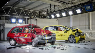 Euro NCAP 20th Anniversary – the 1997 Rover 100 and current Honda Jazz post-crash testing.