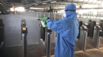 Electrostatic spray guns used to apply long-lasting viruscide- Blackfriars 2