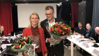Avtroppende BU leder Line Oma og bydelsdirektør Tore Olsen Pran