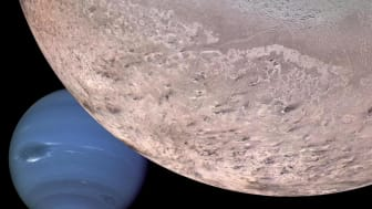 Montage of Neptune and its moon Triton (Credit: NASA/JPL/USGS)