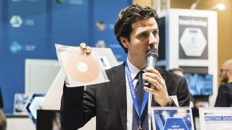 Graphenea's Iñigo Charola showcases the company's products at Mobile World Congress in Barcelona, Spain.