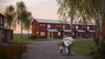 Visionsbild Saffransgatan, radhus i Gårdsten. Bild: Götenehus, 2018