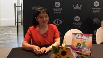 Author, illustrator and PitchMark user Tienny The at her book launch during the 2018 Singapore Writers Festival
