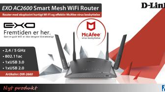 Forhindrer din Wi-Fi-opkobling dig fra at nyde lag- og bufferfri streaming og spil? D-Links nye Smart Mesh WiFi Router DIR-2660 er en ekstremt hurtig og sikker løsning!