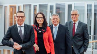 Styrelsen för Zeppelin Group (från vänster till höger): Christian Dummler, Alexandra Mebus, Michael Heidemann samt Peter Gerstmann (arkivbild Zeppelin GmbH)