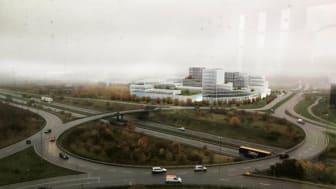 Saab kommer att bli granne med Axis framtida kontorsbyggnad. Visualisering: Landén + Krantz Arkitekter för Axis.