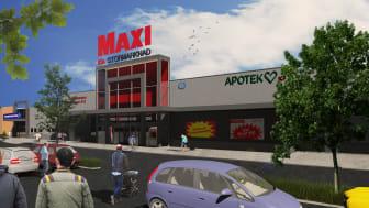 Maxi ICA Stormarknad i Ulricehamn. Arkitekt/illustration: Tecknarstudion