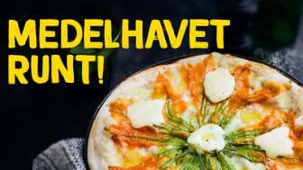 Pizza med Stracciatella-ost, zucchiniblommor och gorgonzola.
