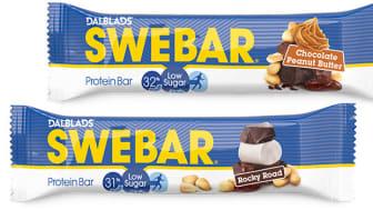 Sveriges mest sålda proteinbar kommer nu i två nya smaker med lågt sockerinnehåll: Swebar Rocky Road & Swebar Chocolate Peanut Butter