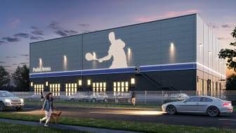 Titanias nyproducerade Padelanläggning i Eriksbergs industriområde, Botkyrka kommun.