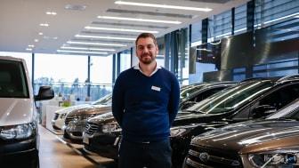 Zacharias Eklund, säljare på Upplands Motor.
