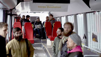 Den 29 mars bjöd Skånetrafiken in till ett test av nya funktioner på en regionbuss för att möta och diskutera olika behov. Foto: Yannick Wolf/ Above Agency AB