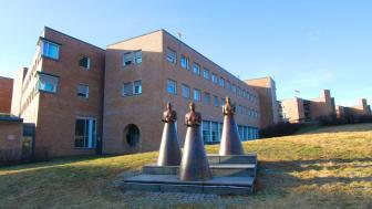 """Tre gratier"", foran Oslo universitetssykehus, Rikshospitalet. Foto: Anders Bayer, OUS"