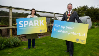 Andrea Bohar, founder of Green Finger's Family in Larne, with Mayor of Mid and East Antrim, Councillor William McCaughey