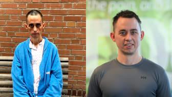 Før og etter. Bildet til venstre viser tydelig hvor syk Bastian Fjelnset var før levertransplantasjonen i 2018. Bildet til høyre er tatt ca. et halvt år etter transplantasjonen. Foto: Privat og Jørgen Kvam.