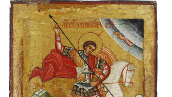 Russian icon depicting St George and the dragon