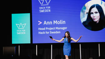 Ann Molin at opening ceremony of Hack for Sweden 2019