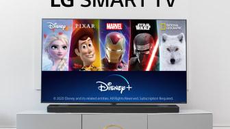Disney+ er nu tilgængelig på alle kompatible LG TV i norden
