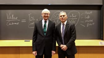 Michael Porter, Harvard Professor and Founder of Shared Value with Adrian Gore, Discovery Chief Executive.