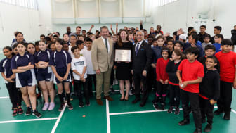 Graham Gooch, Waltham Forest Council Leader, Clare Coghill & Lord Patel of Bradford, Chair of ECB South Asian Advisory Group open Leyton Cricket Hub
