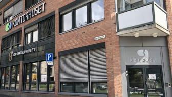 Gründerhuset er så integrert i Kontorhuset Bragernes som mulig. Her snakker vi felles inngangsdør.
