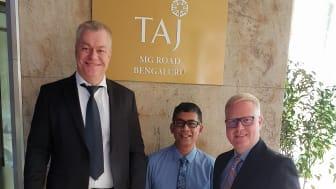 "Från vänster: Thomas Goréus (CEO & President), Santanu ""Shawn"" Gupta (CDO), Ryan Kluft (COO/VP, USA, Canada & India)"