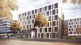 Im neuen Bürogebäude am Albstadtweg 10 werden zukünftig die Stuttgarter STRABAG-Konzerneinheiten der Zentralen Technik, IT und Innovation & Digitalisation unter einem Dach arbeiten.  Copyright: OLN für STRABAG Real Estate, Entwurf MHM