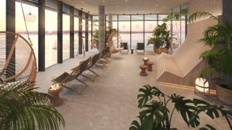 Den magnifika relaxavdelningen på Scandic Oceanhamnen har milsvid utsikt i alla väderstreck, från Öresundsbron i syd till Kullaberg i norr.