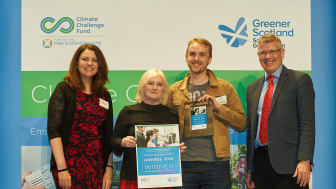 (Left to Right) Keynote Speaker Heather Reid OBE, ng homes Head of Regeneration Margaret Fraser, Founder of Dekko Comics Rossie Stone and Keep Scotland Beautiful Charity Trustee Tom Brock OBE with the ng homes award.