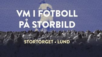 Storbildsvisning av VM i fotboll på Stortorget i Lund