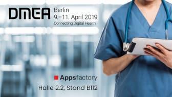 DMEA 2019 – Connecting Digital Health: Appsfactory präsentiert sich als Experte für die Zertifizierung von Software als Medizinprodukt sowie Mobile Health Anwendungen
