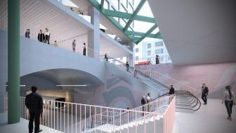Illustrasjonen viser hvordan Majorstuen T-baneknutepunkt kan se ut i fremtiden. Ill: Sporveien/ MDH arkitekter