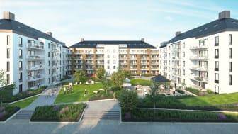 Kvarteret Startbanan, nybyggda prissänkta bostäder i Södra Ladugårdsängen. Illustration: Botrygg