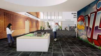 En skiss från högskolans nya Virtual Campus.