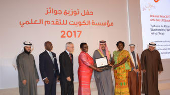2017 Al-Sumait Prize for African Development Laureates FAWE receiving their prize from His Highness Deputy Amir Crown Prince Nawaf Al Ahmed Al Sabah
