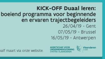 Kick-off Duaal Leren vindt plaats op drie locaties: Gent, Brussel en Antwerpen