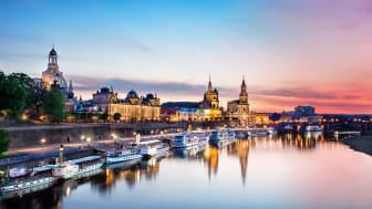 Dresden: Elbebredd om kvelden © Dresden Marketing GmbH F: Frederik Schrader OBS: Videre bruk av bildet ikke tillat.