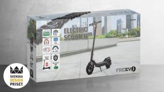 NetOnNet är nominerade till Svenska Designpriset i kategorin Förpackning. Det nominerade bidraget är den visuella identiteten för elscootermärket Freevs förpackningar.